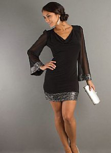 Scoop Chiffon Sequin Long Sleeve UK Girl Black Graduation Dresses.jpgs