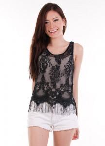 lace fringe top black 1