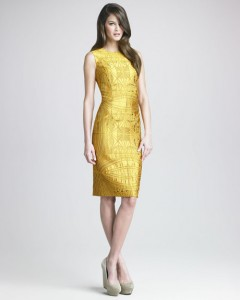 yellow slim silhouette dress