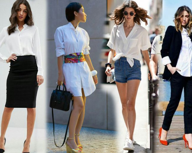 Different ways of styling a white shirt